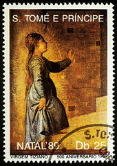 """Painting """"Young Virgin Mary"""" by Titian on postage stamp"""