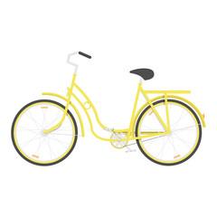 Yellow women's bicycle isolated