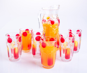 Orange juice or Orange juice in jug on background.