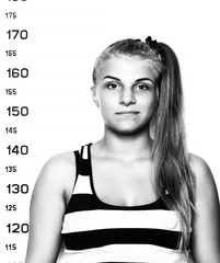 Young beautiful blonde woman Criminal Mug Shots. black and white