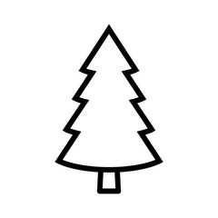 Evergreen conifer / pine tree flat stylized line art vector icon for apps and websites