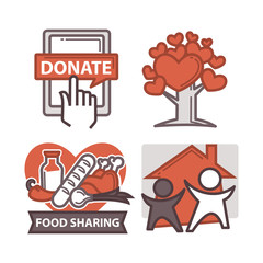 Donation and volunteer work icons