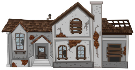 Old house with brown roof