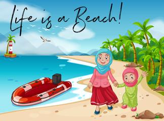 Muslim girl and mom walk on beach