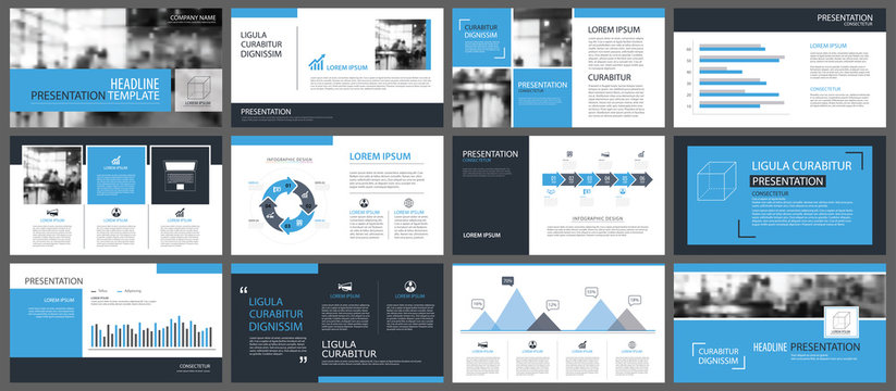 Blue presentation templates and infographics elements background. Use for business annual report, flyer, corporate marketing, leaflet, advertising, brochure, modern style.