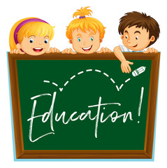 Three kids and board with word education