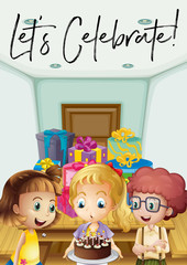 Foto op Plexiglas Pony Kids at birthday party with phrase let's celebrate