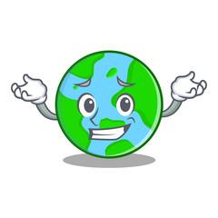 Grinning world globe character cartoon
