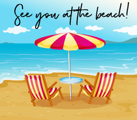 Beach scene with phrase see you at the beach