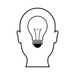 technology future light bulb head front view