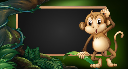 Frame template with monkey in the wild