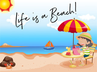 Girl sits on the beach with phrase life is a beach
