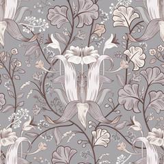 Foto op Aluminium Botanisch Floral vintage seamless pattern. Retro plants style. Vertical decorative flowers, modern motif. Colorful damask ornament