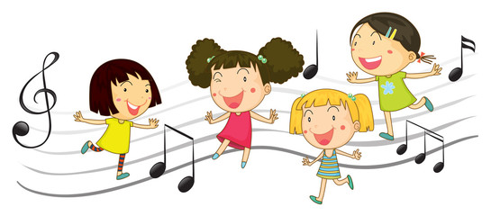 Happy children dancing with music notes in background