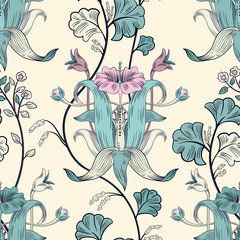 Fotobehang Botanisch Floral vintage seamless pattern. Retro plants style. Vertical decorative flowers, modern motif. Colorful damask ornament