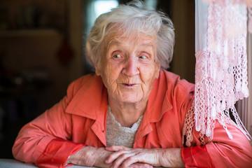 An elderly woman, ironic portrait.