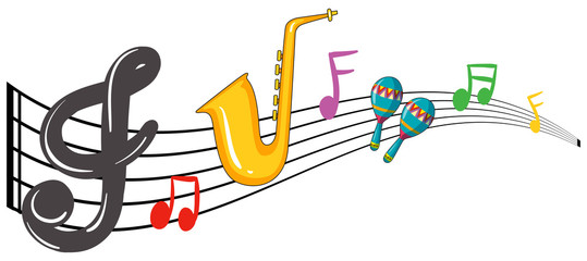Music notes and instrument background design
