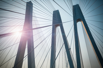 Foto auf Acrylglas Bridges cable-stayed bridge closeup