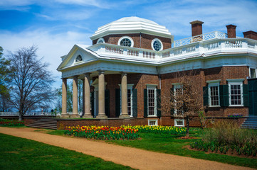 Monticello House Angle View From Grass