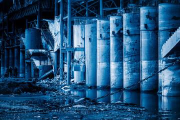 bridge construction site in Chongqing,China,blue tone.
