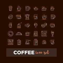 Outline web icon set - drink coffee, tea
