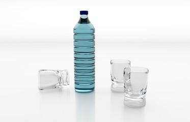 Wasserflasche mit Gläsern