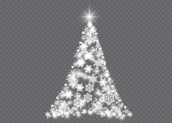 Silver Christmas tree on transparent background