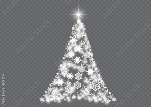 Christmas Tree Transparent Background.Silver Christmas Tree On Transparent Background Stock Image