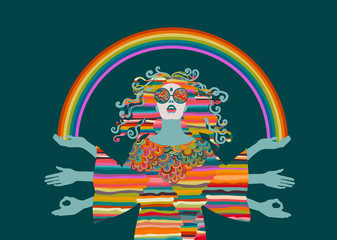 Psychedelic hippie woman, goddess, eps10 vector