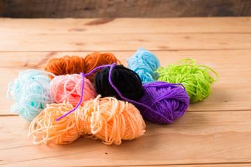 Colored balls of yarn. Rainbow colors.