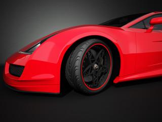 Roter Rennwagen 3D Rendering