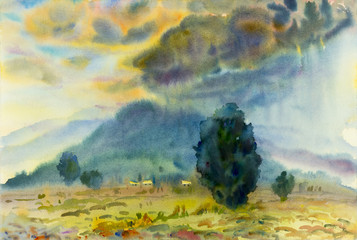 Watercolor landscape original painting colorful of mountain and emotion