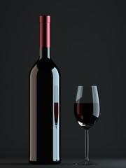 Rotwein mit Glas 3D Illustration