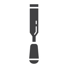 Chisel glyph icon, build and repair, carpenter sign vector graphics, a solid pattern on a white background, eps 10.