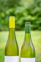 Two full wine bottles next to each other outdoors, front view summer shot.
