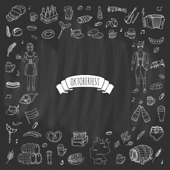 Hand drawn doodle set of Oktoberfest icons. Vector illustration set. Cartoon Bavarian elements. Sketchy October fest collection: Sausage, Barrels of Beer, Bread, Girl and Man in traditional costumes.