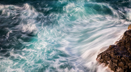 Abstract of ocean waves with motion blur