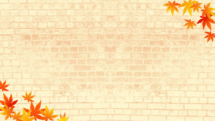 秋のイメージ レンガの背景に紅葉 (16:9)