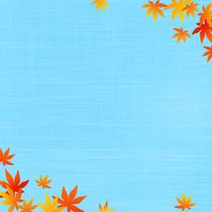 秋のイメージ 布地の背景に紅葉(16:9)
