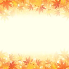 秋のイメージ 輝く紅葉と落ち葉 (16:9)