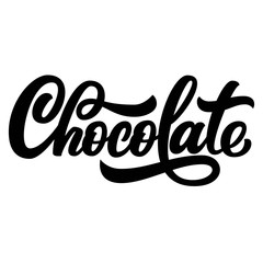 Chocolate hand lettering, custom typography, black ink letters isolated on white background. Vector type illustration.