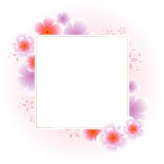 Flowers frame. Violet Sakura Flowers frame isolated on White Pink background. Vector