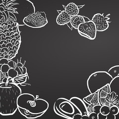 Healty Fruits, Chalk Drawing on Blackboard