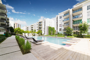 Modern residential buildings with outdoor facilities, Facade of new low-energy houses . Wall mural