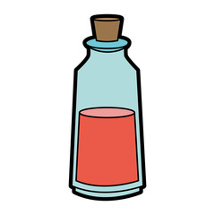 cosmetic glass bottle with cork icon image vector illustration design