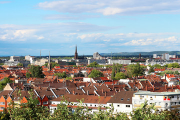 view above the roofs of Karlsruhe - Germany Fototapete
