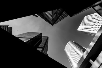 Photo Blinds City building Hong Kong Architecture Black And White
