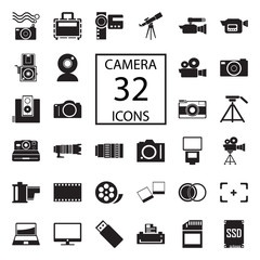 camera 32  icons on white background. Vector illustration.