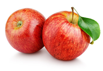 Acrylic Prints Fruits Two ripe red apple fruits with green leaf isolated on white background. Red apples with clipping path