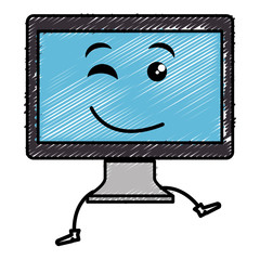 computer display kawaii character vector illustration design